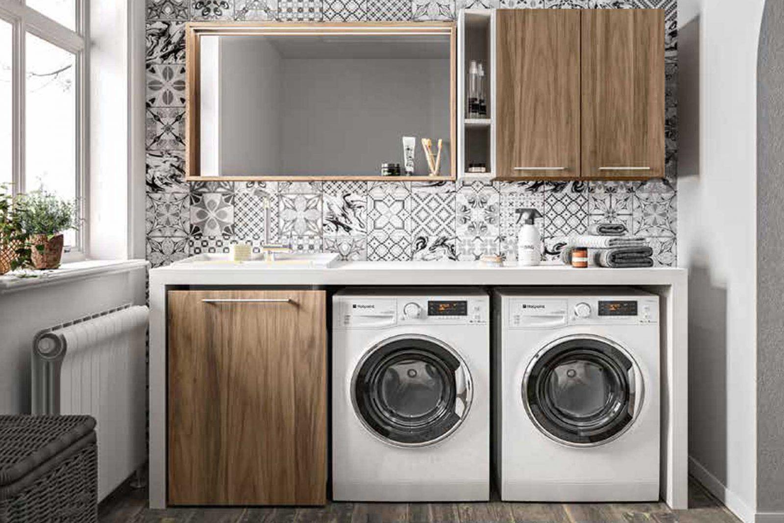 Mobile Colonna Lavatrice Asciugatrice lavanderia , lavanderia domestica, stireria, locali di servizio